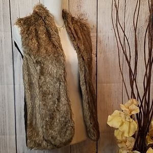 Sebby Brown Faux Fur Vest SP